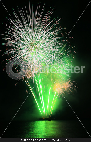 Green dandelion fireworks stock photo, Bright green dandelion like fireworks against the sky by Jonas Marcos San Luis