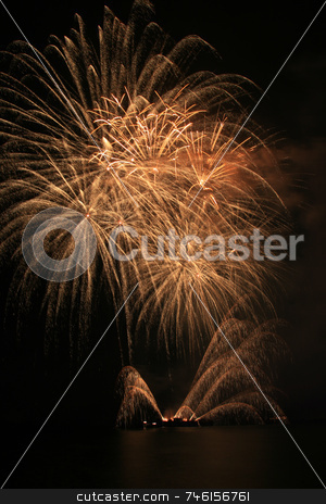 Yellow fireworks stock photo, Bright yellow  fireworks against the dark sky by Jonas Marcos San Luis