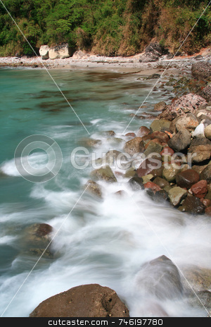 Silky water stock photo, Silky white water created by splashing waves by Jonas Marcos San Luis