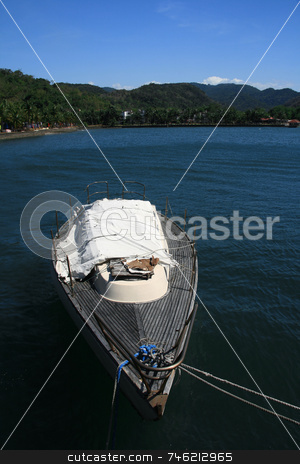 Boat stock photo, Boat on the blue waters of a resort by Jonas Marcos San Luis
