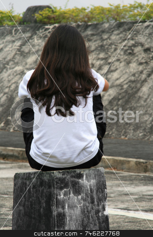 Sitting girl stock photo, Young girl sitting on a wooden stump by Jonas Marcos San Luis