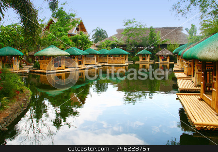 Floating huts stock photo, A chain of floating native food huts by Jonas Marcos San Luis