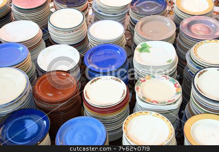 Colorful plates stock photo, Stacks of colorful plates in different designs by Jonas Marcos San Luis