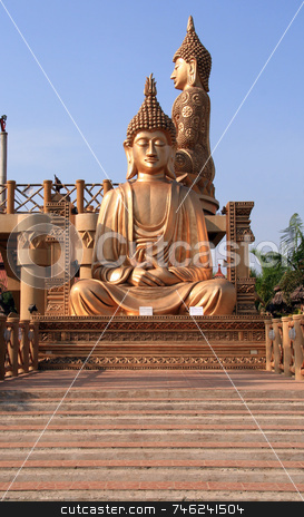 Golden buddha stock photo, Statue of a golden buddha by Jonas Marcos San Luis