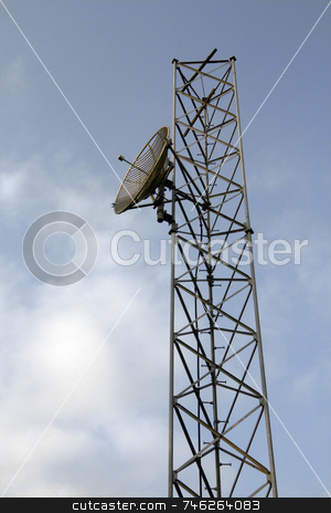 Radio transmitter tower stock photo, Radio transmitter tower against a blue sky by Jonas Marcos San Luis