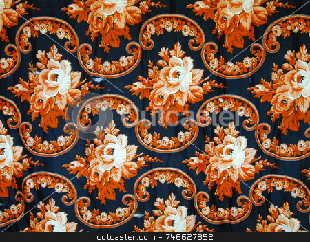 Antique Floral Fabric stock photo, Closer view of antique fabric in floral pattern by Tom and Beth Pulsipher