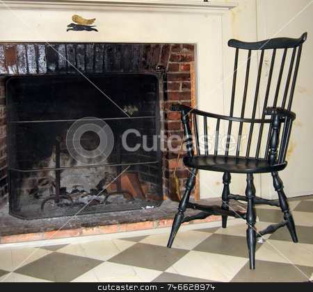 Early Chair Next to Old Fireplace stock photo, A traditional Wiindsor chair, next to old fireplace in vintage home by Tom and Beth Pulsipher