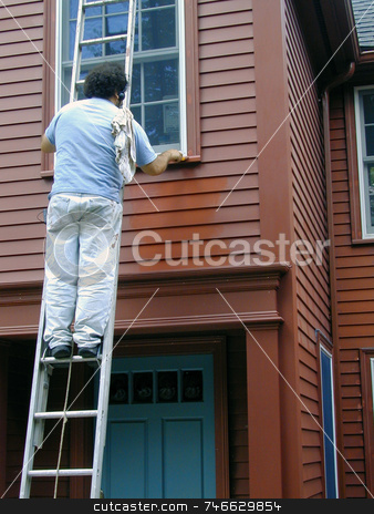 Man Painting House stock photo, Man on a ladder, painting a home red by Tom and Beth Pulsipher