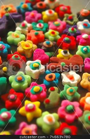 Funky shapes and colors stock photo, Colourful and creative flowers, cars, bunnies, stars made of play dough by Irina Yun