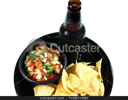 Ice Cold Beer And Salsa stock photo, A cold beer woith chips and salsa on a serving tray. by Lynn Bendickson
