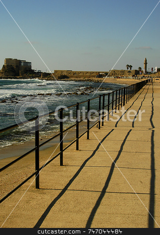 Ceasarea stock photo, The port in the old city of caesarea israel by Kobby Dagan