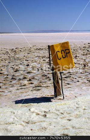 Salt lake stock photo, Bin in dry salt lake in Turkey by Kobby Dagan
