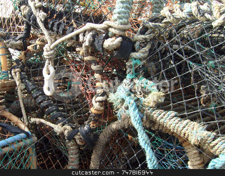 Lobster pots in harbor stock photo, Lobster pots in harbor by Martin Crowdy