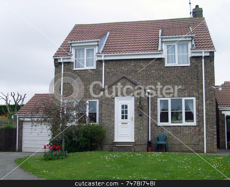 English modern suburban home stock photo, Modern suburban house in England by Martin Crowdy