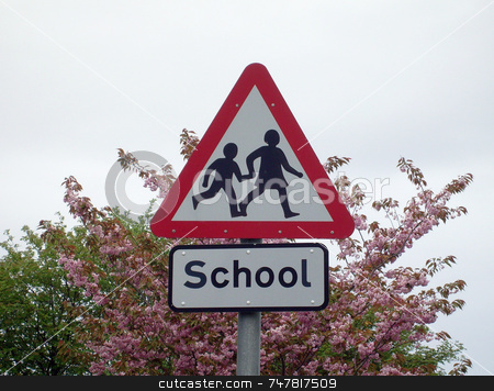 School sign in England stock photo, School sign in English countryside by Martin Crowdy