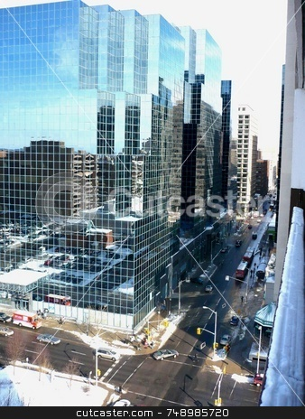 Balcony View stock photo, A breath-taking view from 15 stories up looking eastward on Slater Avenue in downtown Ottawa. by Michael Ge . . . .