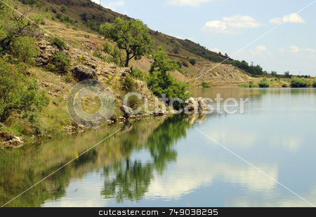 Reflecting Clouds stock photo, Reflecting clouds in lake in anatolia turkey by Kobby Dagan