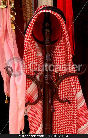 Keffiyah stock photo, Keffiyah the traditional headdress of arab people by Kobby Dagan