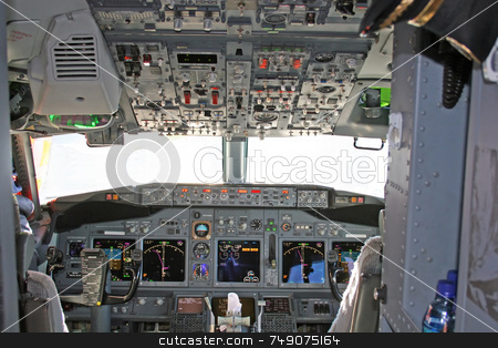 Cockpit 2 stock photo, Cockpit in modern airliner by Darryl Brooks