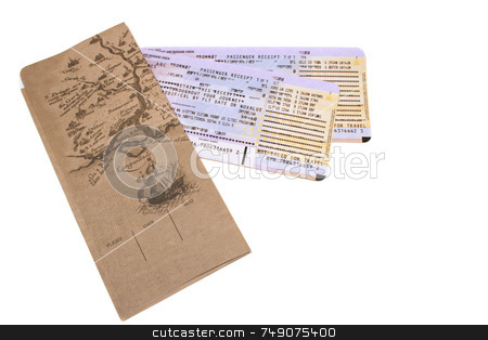 Travel Documents stock photo, Airline itineraries with envelope isolated on white by Darryl Brooks
