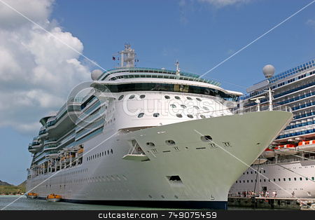 Two Ships stock photo, Two Cruise ships docked alongside each other in port by Darryl Brooks