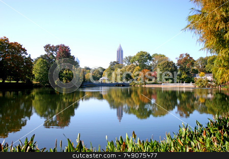 City Lake stock photo, Lake in city park with skyline in background by Darryl Brooks