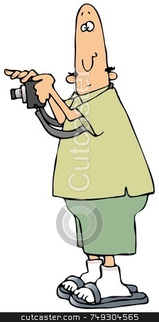 Camera Man stock photo, This illustration depicts a man holding a camera. by Dennis Cox