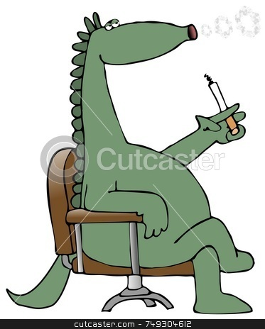 Dinosaur Blowing Smoke Rings stock photo, This illustration depicts a dinosaur sitting in a chair and blowing smoke rings from a cigarette. by Dennis Cox