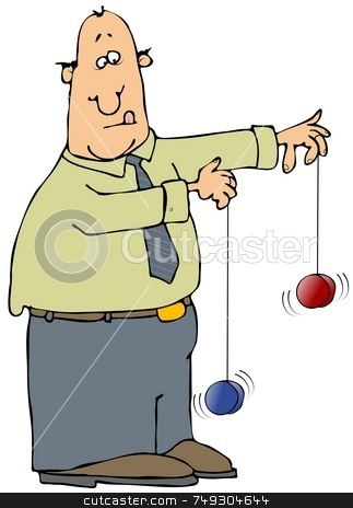 Yo-Yo Man stock photo, This illustration depicts a man playing with two yoyo toys. by Dennis Cox