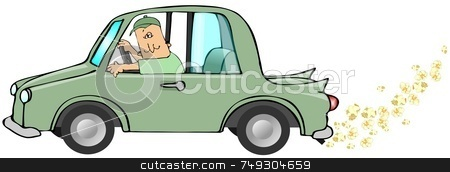 Popcorn Exhaust stock photo, This illustration depicts a man driving a green car running on ethanol with popcorn coming from the exhaust. by Dennis Cox