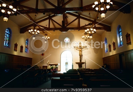 Inside the church stock photo, Inside of a Catholic Church by Rob Wright