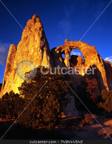 Grosvenor Arch One stock photo, A double arch in the Grand Staircase-Esclante National Monument, Utah. by Mike Norton