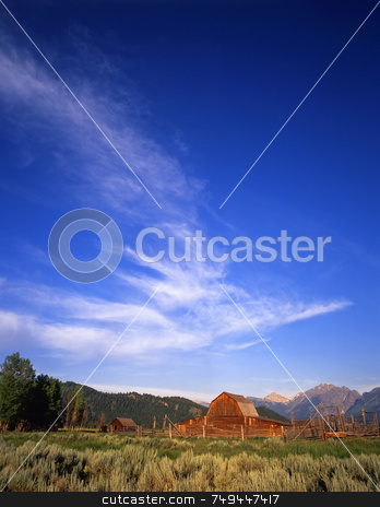 Teton Ranch Three stock photo, A barn, corral and part of the Teton Mountain Range in Grand Teton National Park, Wyoming. by Mike Norton