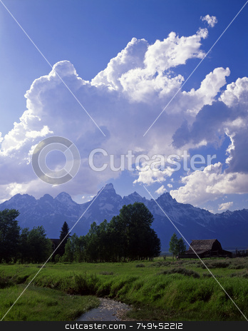 Teton Ranch 4 stock photo, An old homestead and the Teton Mountain Range in Grand Teton National Park, Wyoming. by Mike Norton