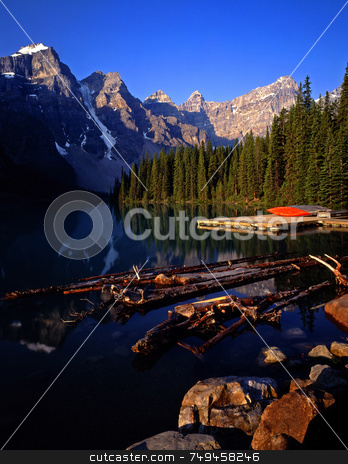 Moraine Lake stock photo, Moraine Lake in Banff National Park located in Alberta Canada. by Mike Norton