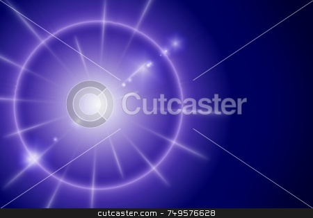 Blue Star stock photo, Star with flare on a dark blue background by Henrik Lehnerer
