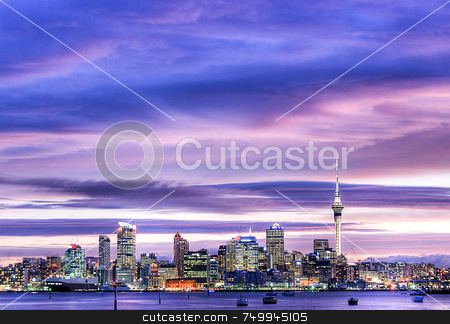 Alien City stock photo, Auckland at sunset using a 3 shot HDR technique by Robin Ducker