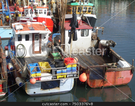 Trawler fleet berthed in harbour stock photo, Trawler fleet berthed in harbour, Scarborough, U.K. by Martin Crowdy
