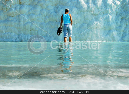 Cold reflection stock photo, Girl in the water in Pamakule Turkey by Kobby Dagan