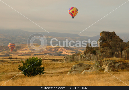Baloon stock photo, Hot air baloon in cappadocia center of turkey by Kobby Dagan