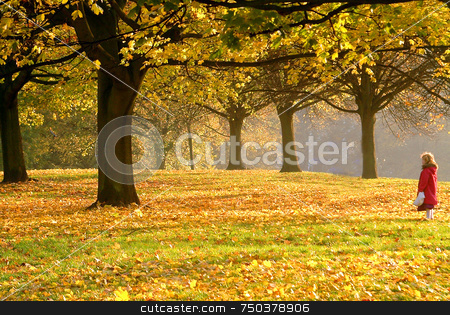 Alone In The Park stock photo, Little girl alone in the park at autumn day by Kobby Dagan