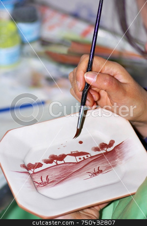 Portuguese  painter. stock photo, Portuguese traditional ceramics painter. by Inacio Pires