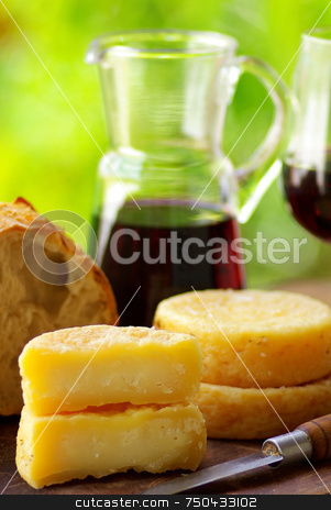 Wine and cheese. stock photo, Wine, bread and cheese. by Inacio Pires