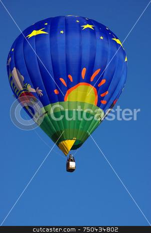 Hot air balloon . stock photo, Hot air balloon in the blue sky. by Inacio Pires