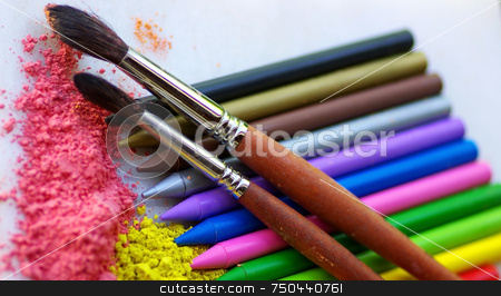 Two brushes and pencils stock photo, Two brushes, colorful ink for painting and pencils. by Inacio Pires