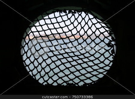 Black Net 7413 stock photo, Looking out of a window on a ship. by Henrik Lehnerer