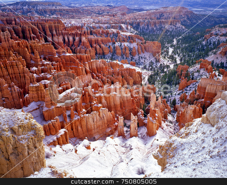 Bryce Canyon 3 stock photo, Snow on the hoodoos in Bryce Canyon National Park, Utah. by Mike Norton