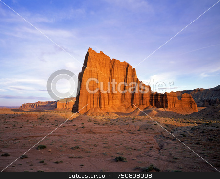 Capitol Reef 1 stock photo, Temple of the Sun in Capitol Reef National Park, Utah. by Mike Norton