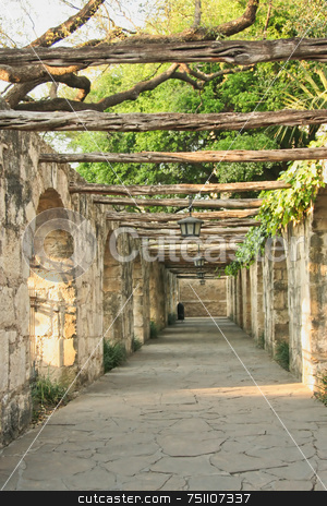 Colonnade stock photo, A timber lined colonnade at the Alamo in San Antonio Texas by Kevin Tietz