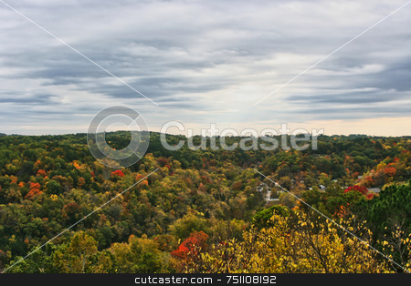 Fall Forest stock photo, A mountain hill side with the foliage changing colors for the fall by Kevin Tietz